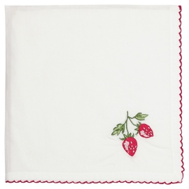 "GreenGate Serviette ""Strawberry Red"" bestickt"