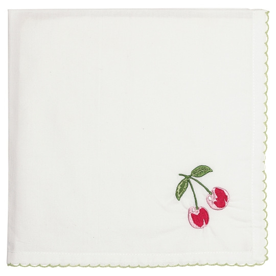 "GreenGate Serviette ""Cherry Red"" bestickt"