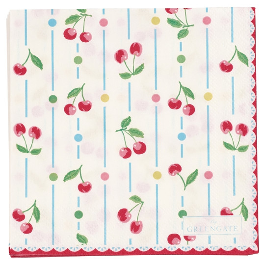 "GreenGate kleine Papierservietten ""Cherry White"""