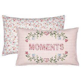GreenGate Kissenhülle Moments Pale Pink bestickt