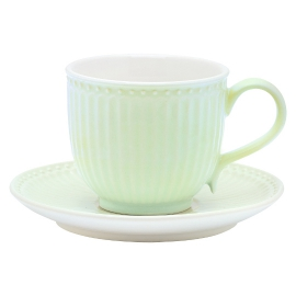 "GreenGate Tasse mit Unterteller ""Alice"" Pale Green"